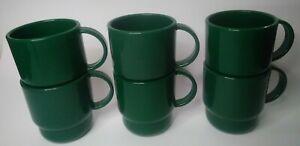 TUPPERWARE set of 6 mugs vintage dark green USA made microwave reheatable coffee