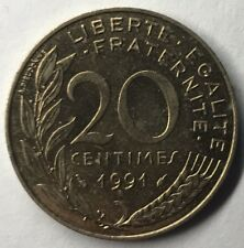 F.156 Monnaie Française 20 Centimes Marianne 1991 Achat Unitaire