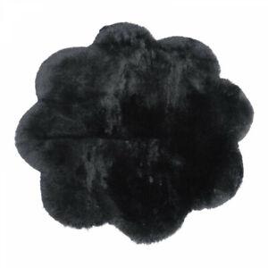 Lambskin Rug Flower Black Short Wool Real Merino Sheepskin