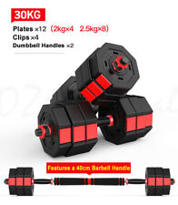 30KG Octagon Vinyl Weight Dumbbell Set with Barbell Bar 4 Easy Clips Black Red