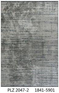 Silver Grey Teal Blue Soft Bamboo Silk Modern Abstract Contemporary Handmade Rug