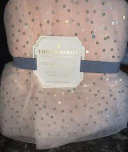 New~Pottery Barn The Emily & Meritt Sparkle Tulle Crib Skirt~Rose Pink