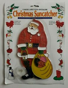 "Vtg Christmas Santa Crystalline Plastic Window Suncatcher 9"" New"