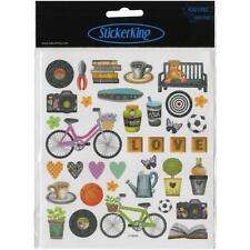 Scrapbooking Crafts Stickers Sticker King Spring Icons Bicycle Soda Plants Balls