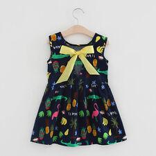 Toddler Girl Summer Party Wedding Princess Dress Kids Baby Bow Holiday Sundress Navy 5-6 Years