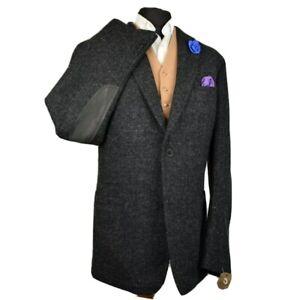Harris Tweed Tailored Country Black Blazer Jacket 44 Ex Long - RARE BLACK LABEL