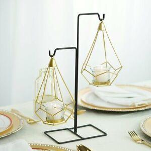 Gold Black 2 Geometric Design Metal Tealight Holders Wedding Lanterns with Stand