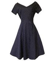 PINUP 40s/50s WOMEN'S UK 10 S FAB DRESS Navy Blue Polka Dot Fit & Flare Elegant