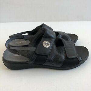 Softwalk Size 10 W  Womens Sandal  Black Leather S1402 002 Slingback Hook & Loop