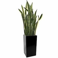Kanto Carson Aluminum Indoor and Outdoor Planter, Large, Black