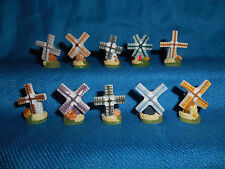 Windmills Wind Mills Set of 10 Mini Figurines French Porcelain Feves Figures