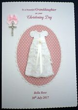 Personalised On your CHRISTENING Day Hand made Card for Grand daughter,Niece etc