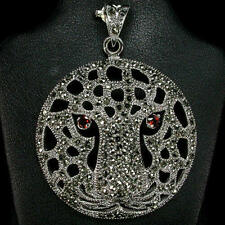 BIG BOLD BEAUTIFUL MARCASITE TIGER FACE  925 STERLING SILVER COVERED IN MARCASIT