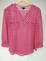 Gap Top Size Small Geometric Design Fuchsia Pink / White Semi Sheer Shirt Women