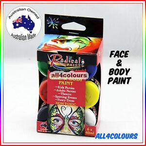 Australian Non-Toxic Face Painting Kit 6 Colours Pack Radical Paint 40ml
