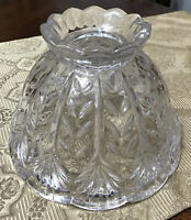 """Small Prescut Clear Crystal Glass Boudoir Lamp Shade Scalloped 4.5"""" tall"""