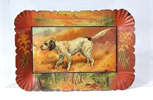c1905 TIN LITHOGRAPH ADVERTISING TIP TRAY WITH NATIONAL CHAMPION BIRD DOG SETTER