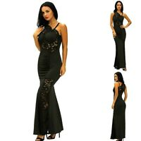 Sz M 10 12 Black Lace Sexy Formal Cocktail Wedding Evening Gown Party Maxi Dress