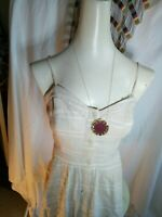 Glassons Linen Look Cream Checked Long Button Dress size 8
