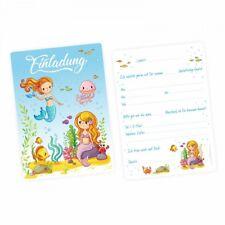 5 Einladungskarten Meerjungfrauen mit GLITZER inkl.Umschlag Kindergeburtstag