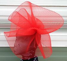 Red feather fascinator millinery burlesque headband wedding hat hair piece