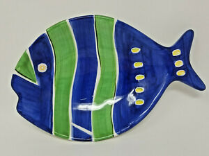 Vintage The Cook's Blue Green Yellow Ocean Fish Ceramic Serving Bowl