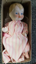 """Shackman Bisque Peppermint Baby Old Fashioned Doll Japan 5"""" Pink White Stripes"""