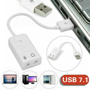 External USB 2.0 Virtual 7.1 Channel 3D Audio Sound Card Adapter for PC Laptop