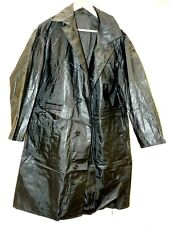 mans pvc vinyl shiny black raincoat vintage mack 50 chest with pockets  rail