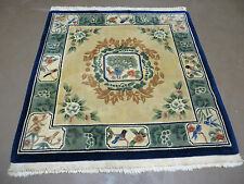 4' X 4' Hand Made Chinese Art Deco  Wool Rug Carpet Square Peacock Love Birds