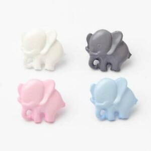 10 Cute Childrens Baby Elephant Design Buttons Pink Grey Baby Blue Polar White
