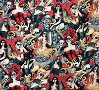 AH243 Las Elegantes Sexy Pin Up Girls Goth Steampunk Skull Tattoo Cotton Fabric