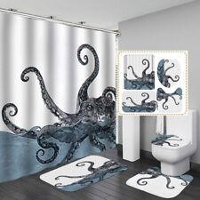 Art Octopus Door Bath Mat Toilet Cover Rugs Shower Curtain Bathroom Decor