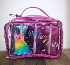BETSEY JOHNSON Cosmetic Set Pink Kitty Cat Unicorn Clear Travel Bag Set TBJ-0199