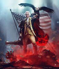 "George Washington Patriot Merica USA Awesome Machine Gun 8.5 x 11"" Photo Print"