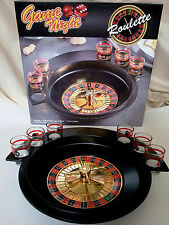 GAME NIGHT,SHOT GLASS ROULETTE,ADULT SHOT DRINKING GAME,W/ WHEEL,BALLS,6 GLASSES