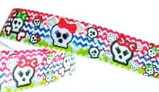 "7/8"" 2 YARDS Monster High Skull Grosgrain Ribbon Hair Bow Scrapbook Cards Crafts"