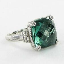 Judith Ripka La Petite Ring Cushion Cut Green Quartz 925 Silver Sz 7 NWT $500