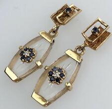 Diamond Blue Sapphire 14K Yellow Gold Carved Crystal Drop Dangle Flower Earrings