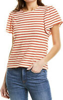 New Madewell Flutter S Sleeve Tee Yorktown Stripe T Shirt Blouse Red M0077 NWT