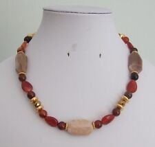 "Dyed Agate, Natural Sunstone Slab, Glass Crystal & Gold Spacer Bead 16"" Necklace"