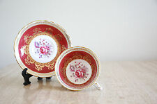 Vintage Cranberry Paragon gold tea cup & Saucer with gold trimming flowers (122)