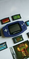 GameBoy Advance GBA-001 NINTENDO Purple Handheld System Plus 7 Games Lot Tested