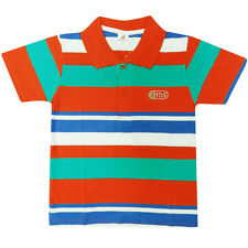 BOYS KIDS POLO SHIRT GREEN BLUE RED WHITE STRIPED BRIGHT T AGE 1 2 3 4 5 6