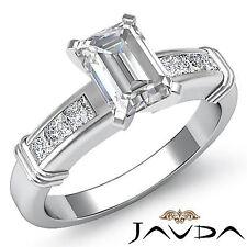 Mujer Esmeralda Diamante Ideal Anillo de Compromiso GIA F SI1 14k Oro Blanco