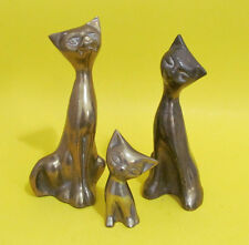 Brass Cats Figurines Set of 3 Made in Korea Vintage  7 in, 6.5 in & 3 in