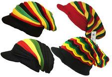 Rasta Bob Marley Raggae Stripe Rasta Slouch Peak Visor Beanie Cap Hat