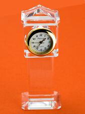 PLATINUM: CRYSTAL GRAND FATHER STYLE COLLECTABLE ANALOG QUARTZ MINI CLOCK