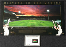 CRICKET DAY/NIGHT TEST MATCH STEVE SMITH BRENDON McCULLUM SIGNED PANORAMIC PRINT