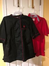 Chickfila Oobe black Chef's Coat Jacket and red Team Polo Shirt men's sz Xl Guc